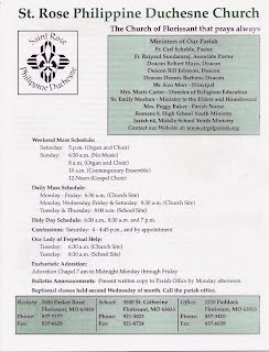 St. Rose Philippine Duchesne Parish - Weekly Bulletin